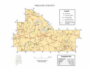 Wilcox County Map |  Printable Gis Rivers map of Wilcox Alabama
