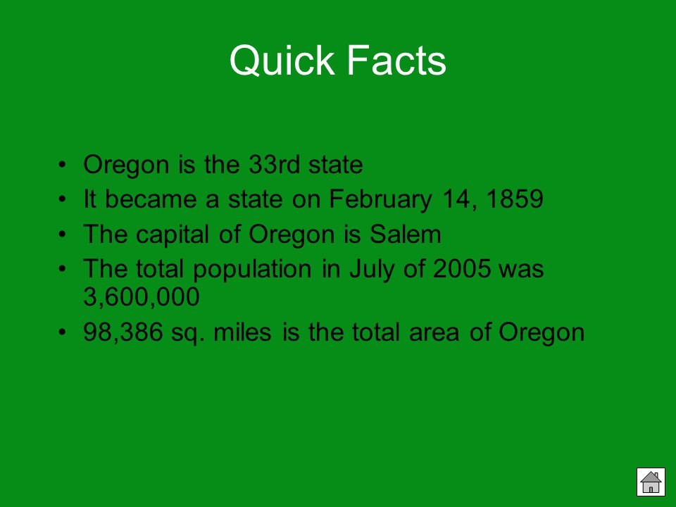 Facts About Oregon