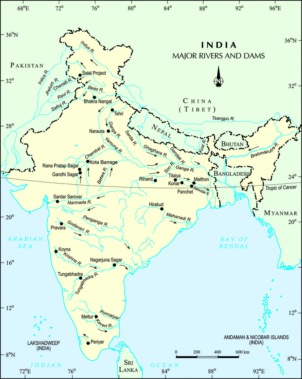 Ganges River India Map : ganges, river, india, River, India, Major, Indian, Rivers, WhatsAnswer