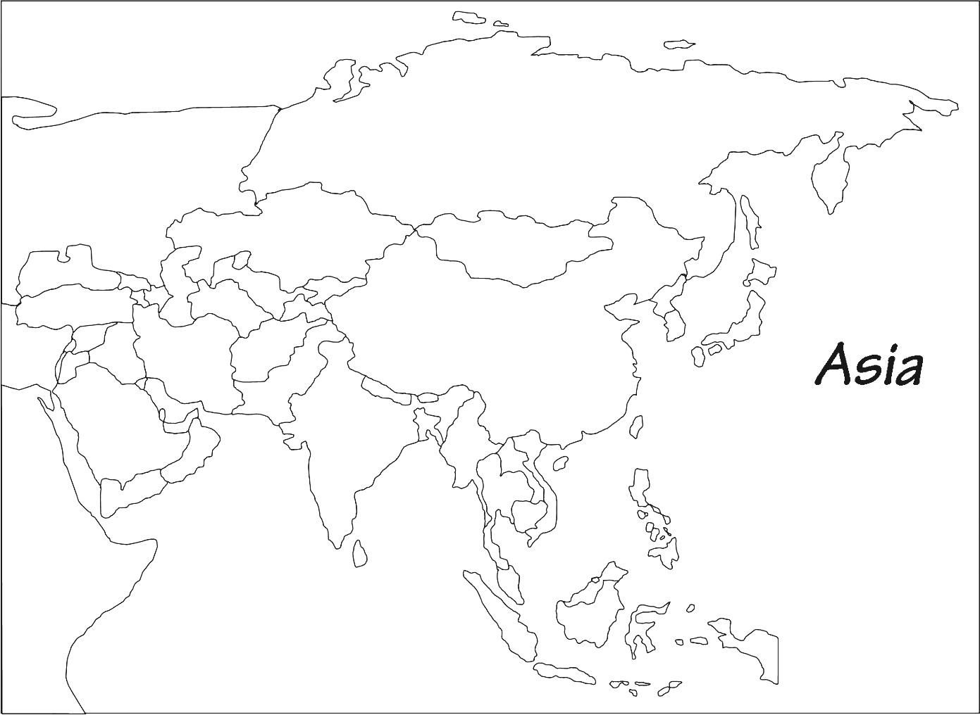 Blank Map Of Asia Printable Outline Map Of Asia Whatsanswer
