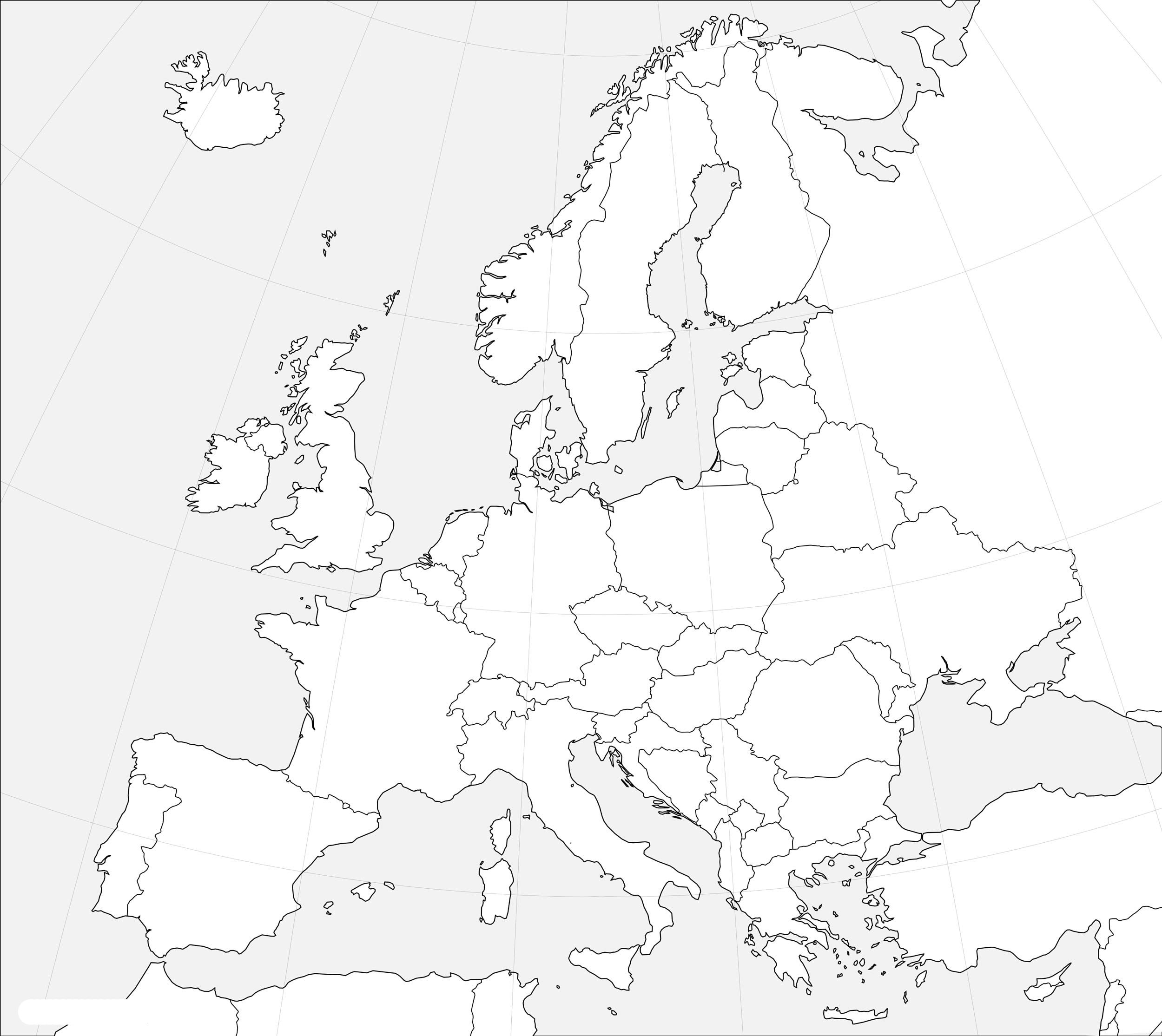 Picture of: Outline Map Of Europe Printable Blank Map Of Europe Whatsanswer