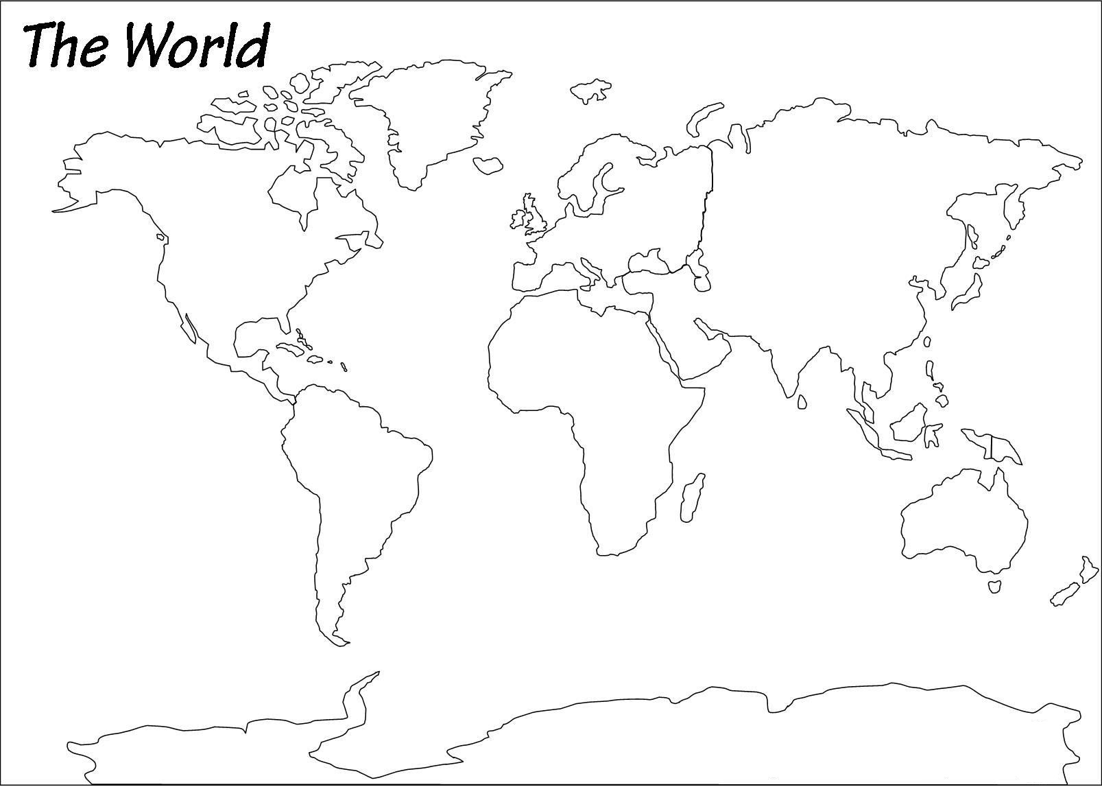 Outline Map of World | Blank World Map