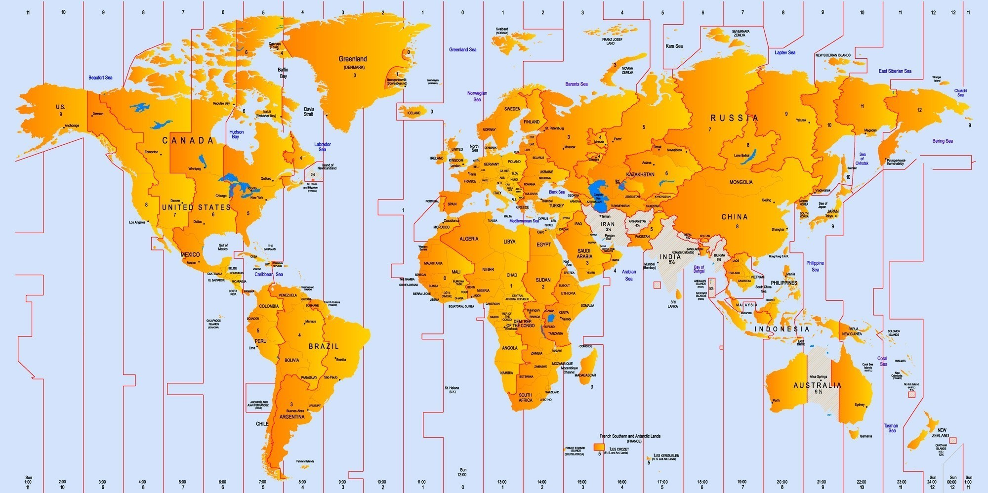 Time Zone Map of The World | World Time Zones Map