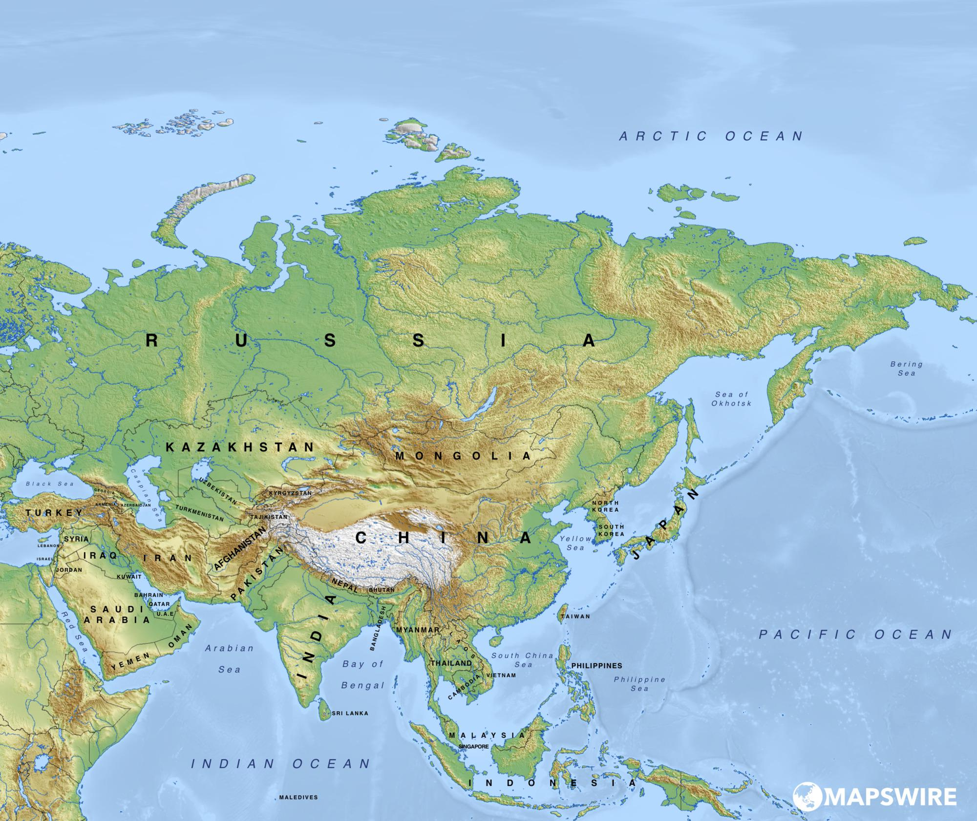 Picture of: Physical Map Of Asia Asian Geography Map Whatsanswer