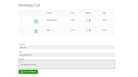 WhatsApp cart page
