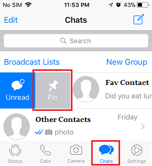 how to pin whatsapp chat on iphone