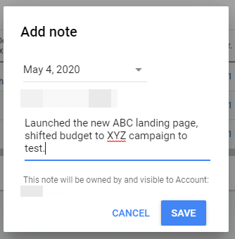 Google Ads Add Note