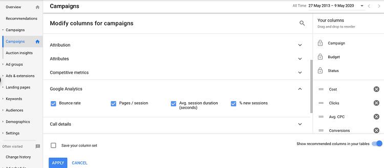 Google Ads Campaign Columns