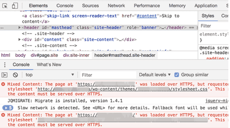 Locate Mixed Content Errors Using Browser Inspection Tool