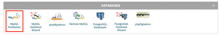 Databases section in Cpanel