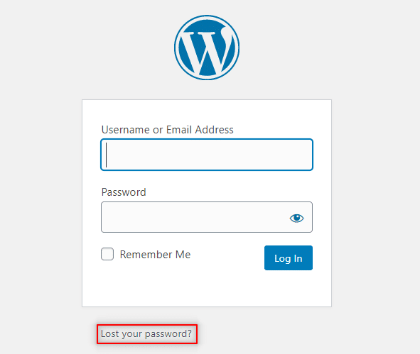 Lost Your Password WordPress