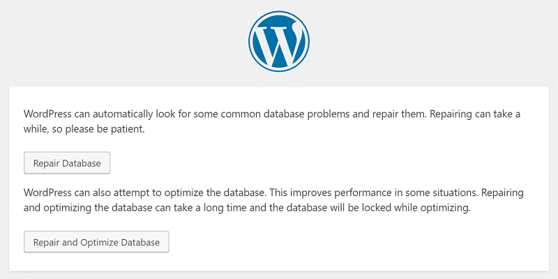 WordPress Database Repair Mode