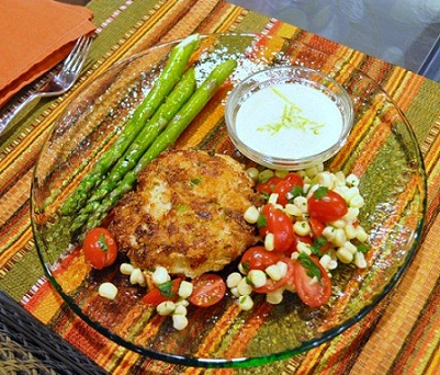Crab Cakes with Tomato Corn Salad Recipe Whats Cooking America