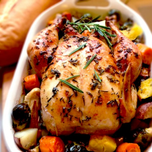 Roasted Rosemary Garlic Chicken Recipe, Whats Cooking America
