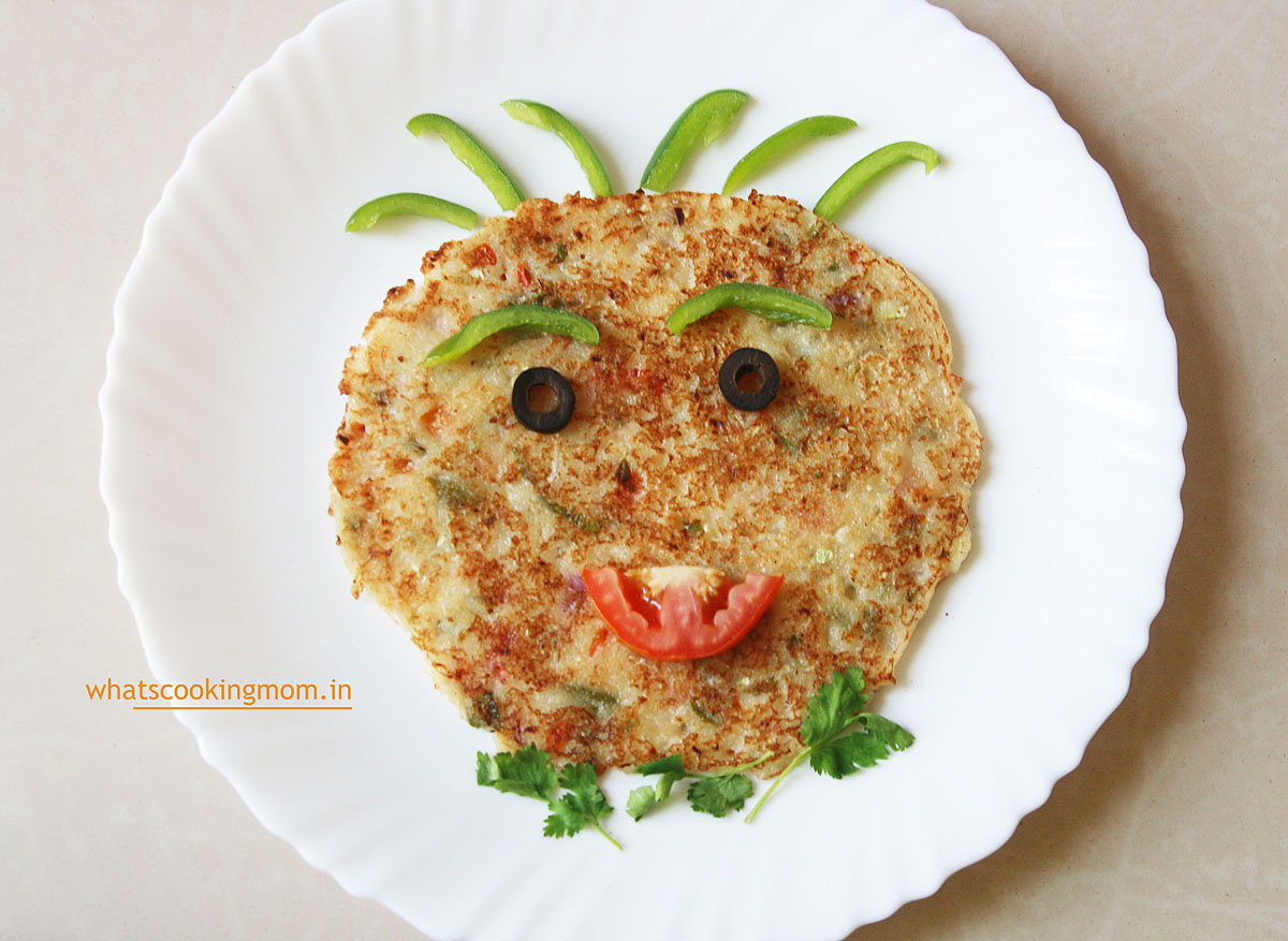Suji Uttapam - semolina pancakes, vegetarian, breakfast, snack, Indian, kids lunch box, school lunch box, tiffin ideas