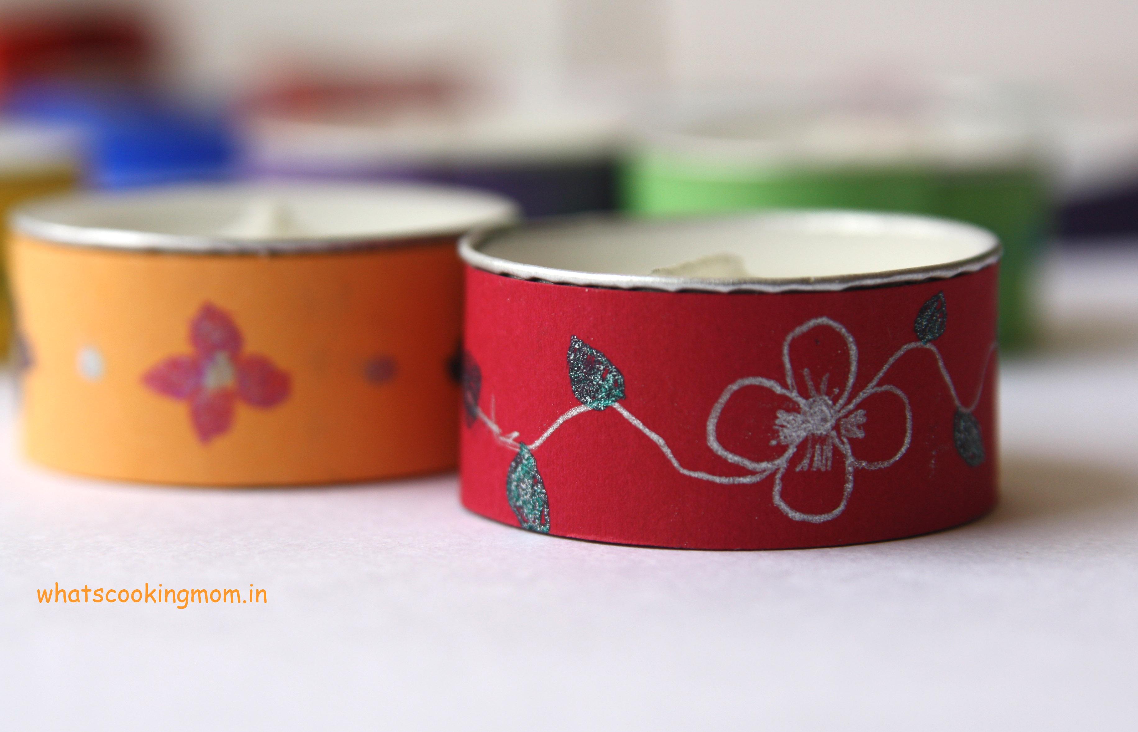 decorative tea lights - Diwali craft, Diwali school project
