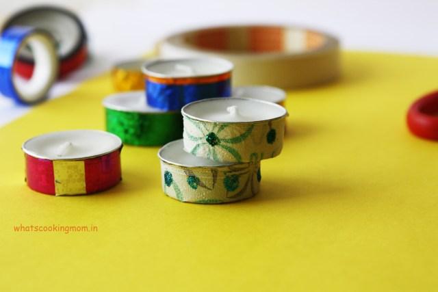 washi tapes tea light candle