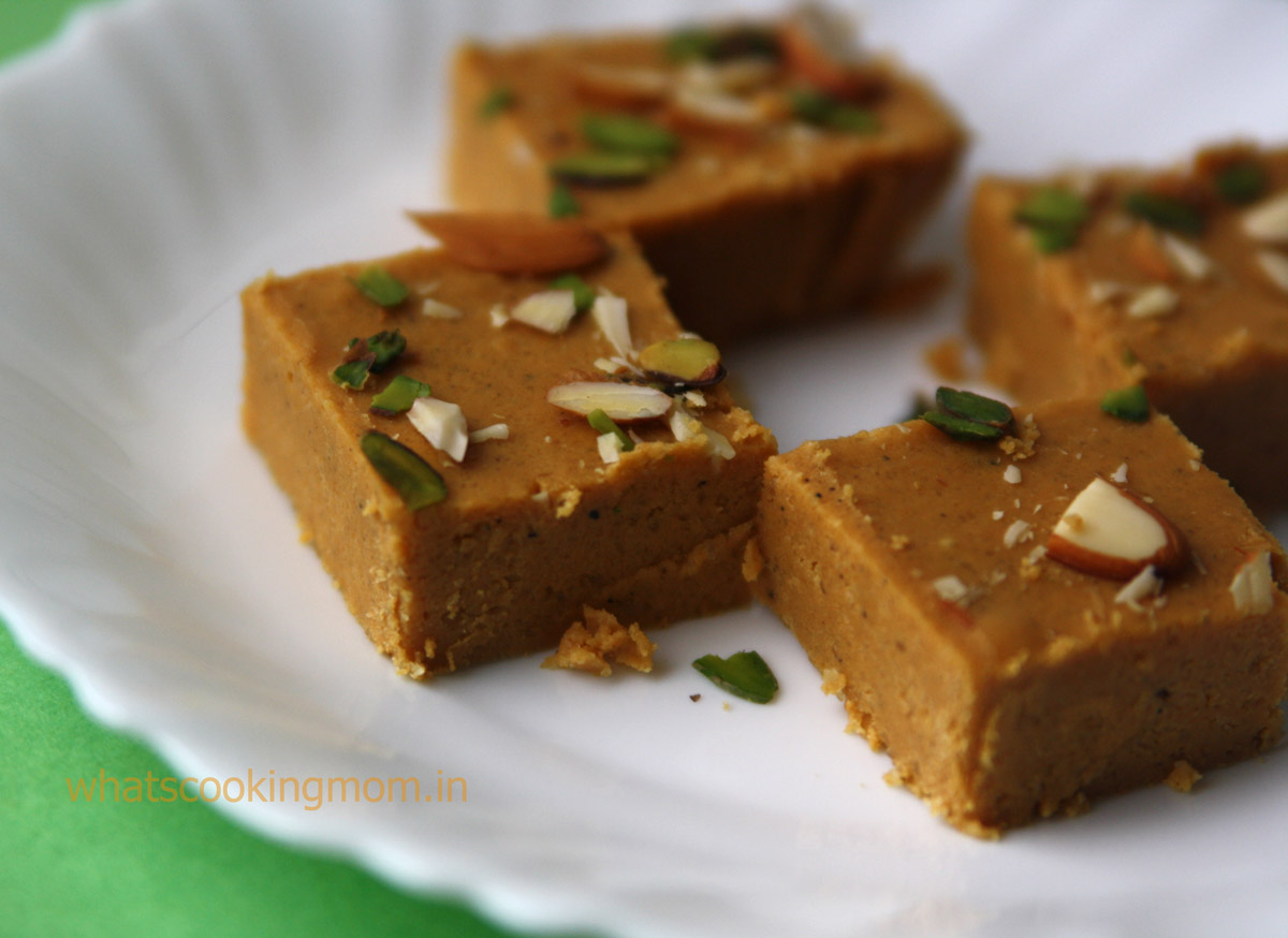 Besan Barfi served in a white plate