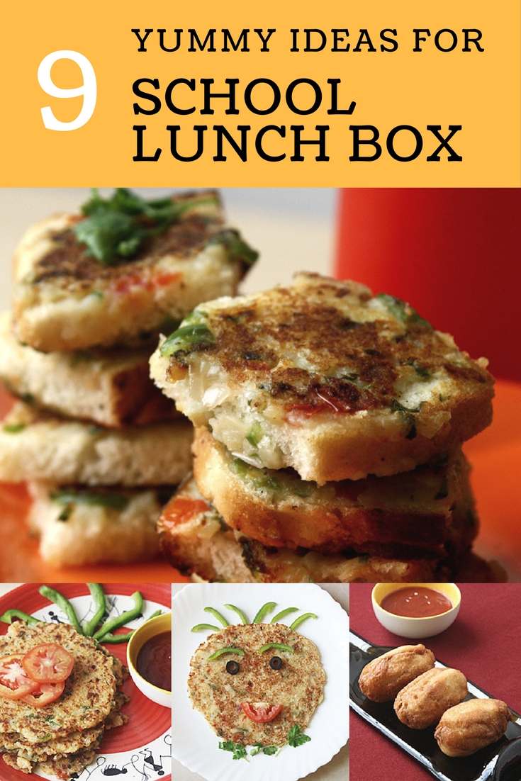 Collage of school lunch box ideas