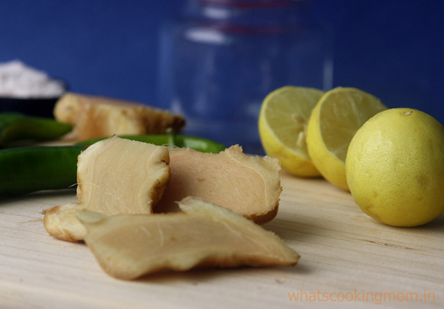 instant ginger pickle - 4 ingredient pickle, no cooking required, healthy pickle