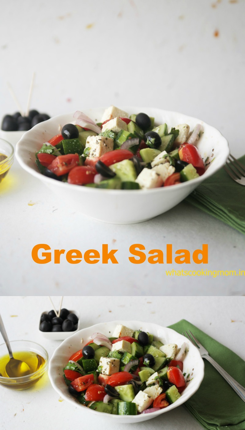 Greek salad made with cottage cheese