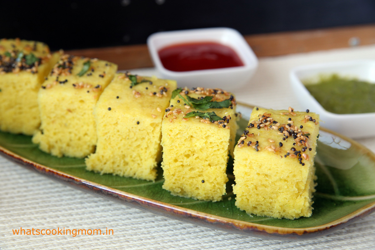 Moong dal dhokla - vegetarian, snack, breakfast, school lunch box, healthy, Indian, tiffin box ideas   whatscookingmom.in
