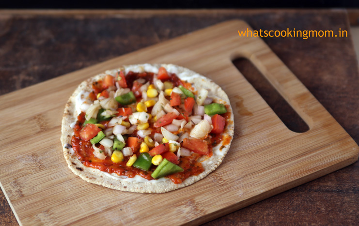 Roti Pizza -Pizza made with roti/ chapati. Healthier option, vegetarian, kid friendly snack.