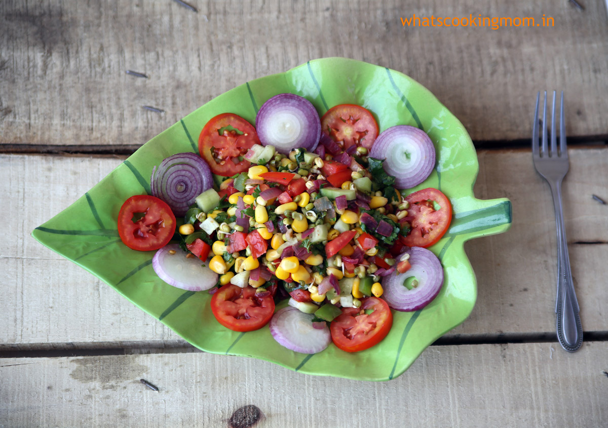 corn sprouts delight - healthy yummy salad with corn and sprouts