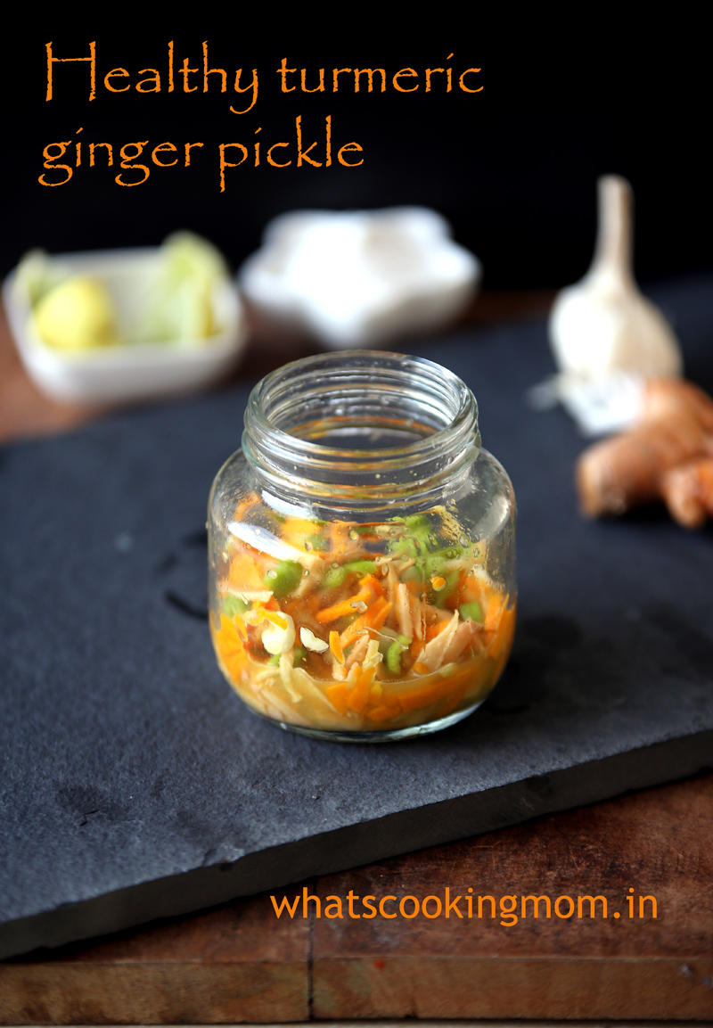 healthy turmeric ginger pickle - healthy, instant, no cook recipe, fresh turmeric, ginger and garlic