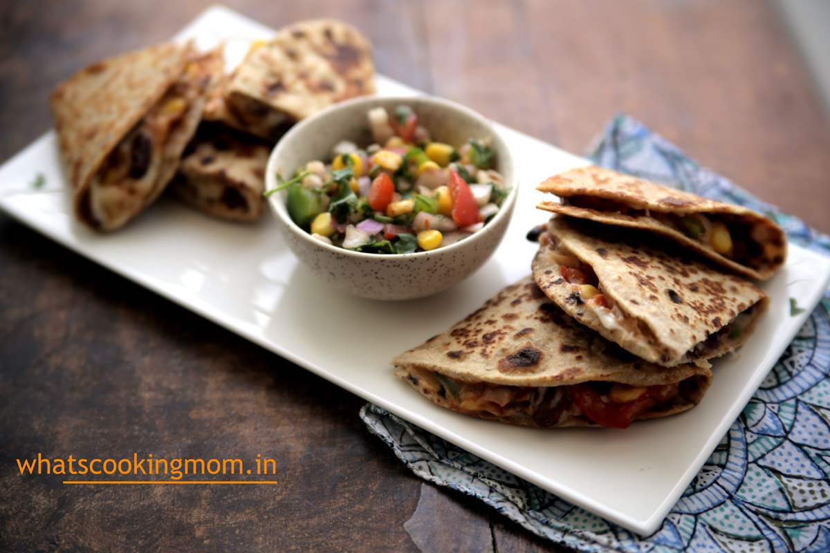Bean Quesadilla - vegetarian rajma quesadilla, protein rich, vegetarian, kid friendly, snack