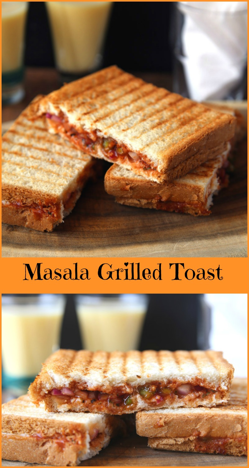 Masala grilled toast - ready in 5 minutes, vegetarian snack, breakfast, for kids lunch box, school tiffin recipe