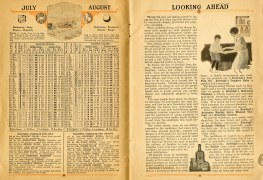 """July and August 1926 calendar and weather forecasts. essay """"Looking Ahead."""""""