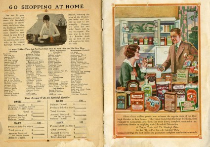 Advertisement for shopping with Rawleigh salesmen. Color image of door-to-door salesman in kitchen with housewife, surrounded by products.