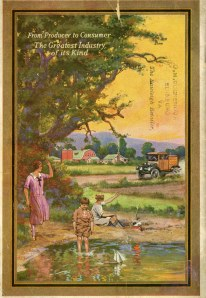 Color illustration of woman and two boys playing at a pond, waving to a passing truck.