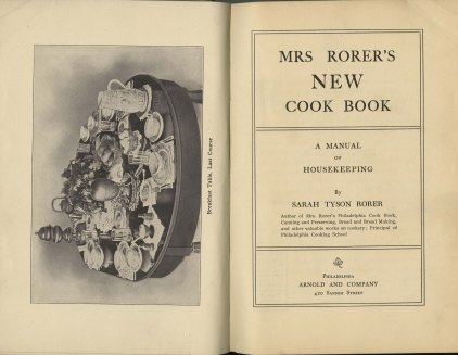 frontis illustration of breakfast table and title page for Mrs. Rorer's New Cook Book: A Manual of Housekeeping, 1902