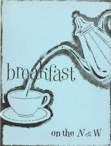 Breakfast menu, front cover