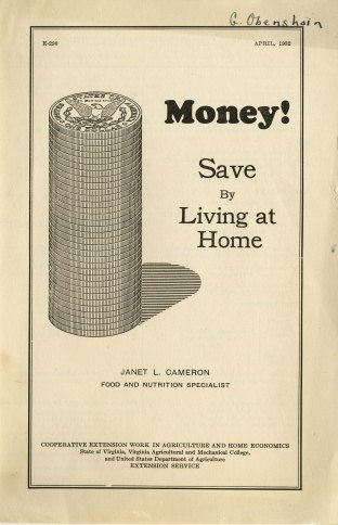 Money! Save by Living at Home, 1932