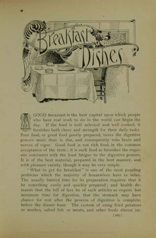 First page from the section on breakfast, which was central to the Kelloggs' food philosophy.