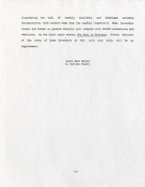Forward from History of Home Economics at V.P.I., 1985