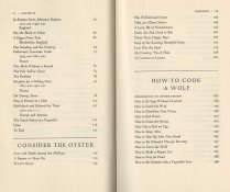 Table of contents for Consider the Oyster and How to Cook a Wolf