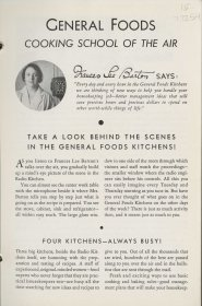 This first pamphlet includes an introduction to the radio program, the test kitchen, and hostess Frances Lee Barton.