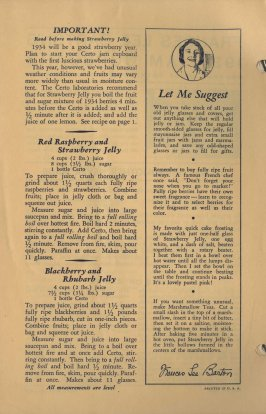 The format for some of the 1934 pamphlets, espeically those related to jam and jelly, included a column of tips and suggestions.