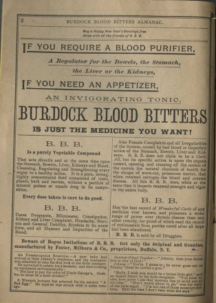 Burdock Blood Bitters: Almanac and Key to Health, 1888. Advertisement.