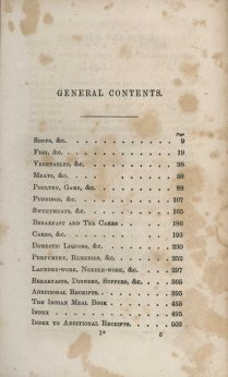 Table of contents from New Receipts for Cooking (1854)