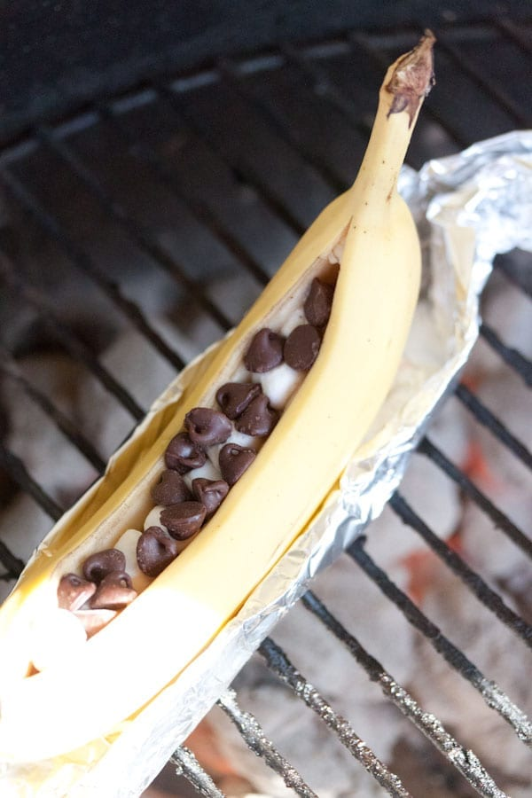 Chocolate and Marshmallow Stuffed BBQ Bananas Step 8