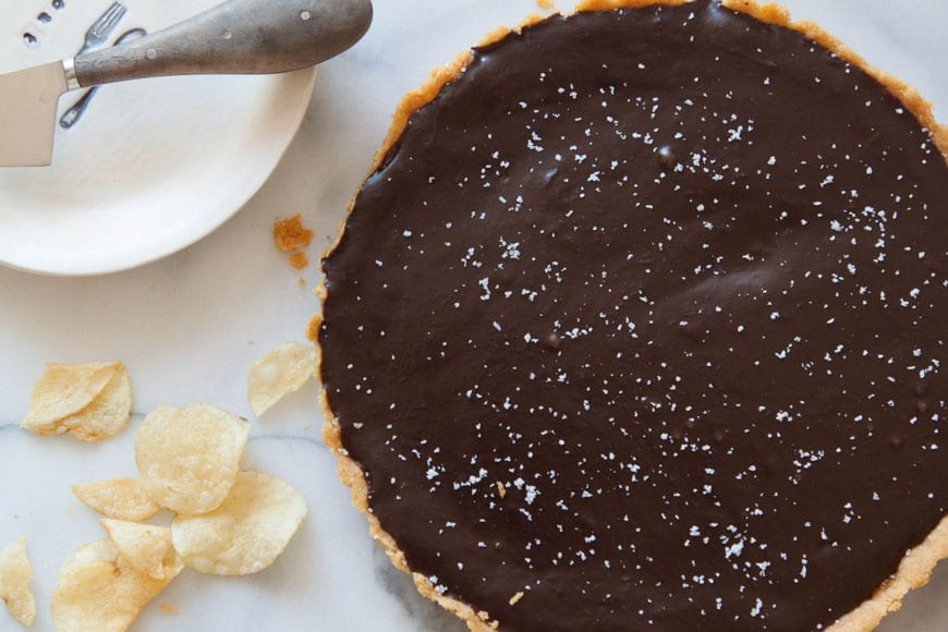 Salted Chocolate Tart with Kettle Sea Salt Chip Crust