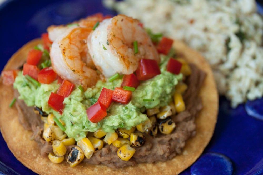 Shrimp Goes Southwest! {5 Marvelous Ways to Spice Up My Favorite Food} Avocado Shrimp Tostadas | bumblebits.co
