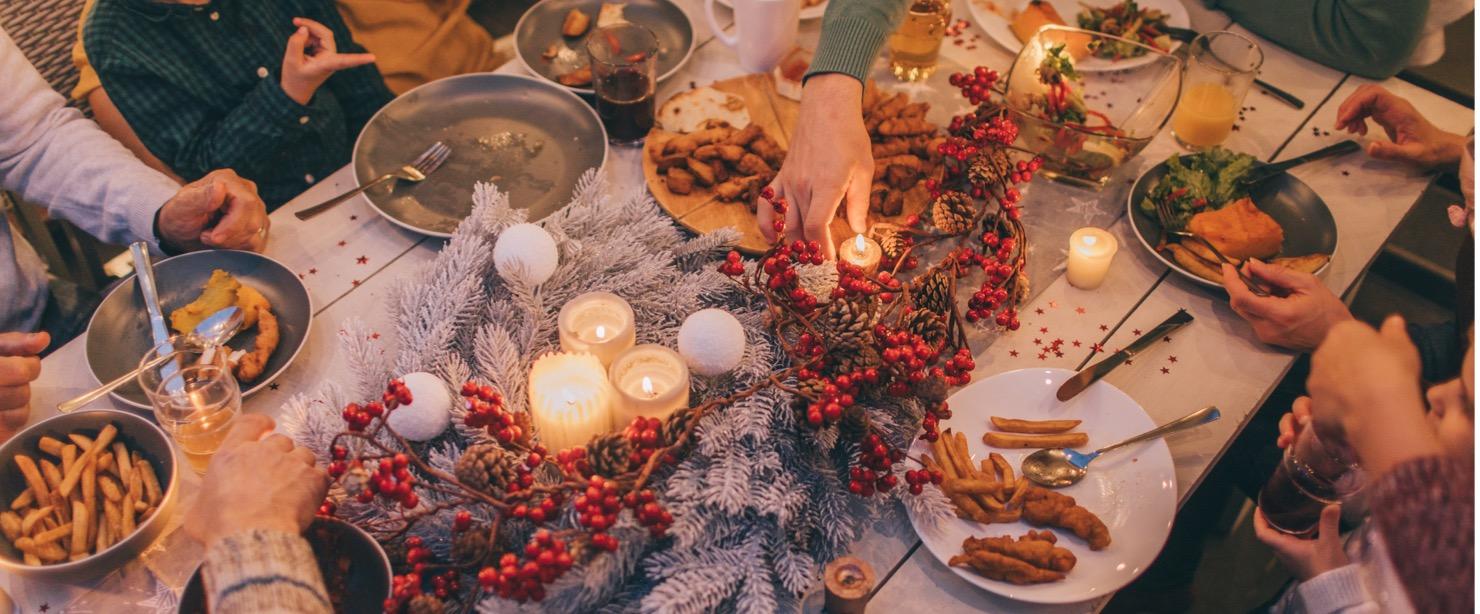family celebrating holiday dinner