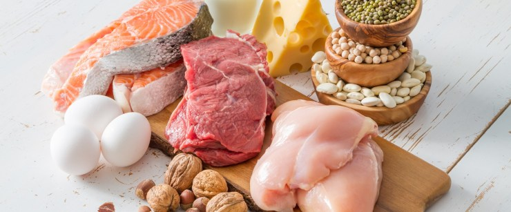 foods high in protein on wooden background