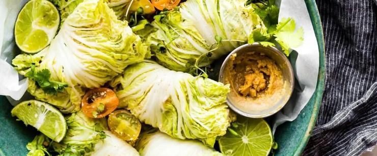 miso chicken cabbage wraps
